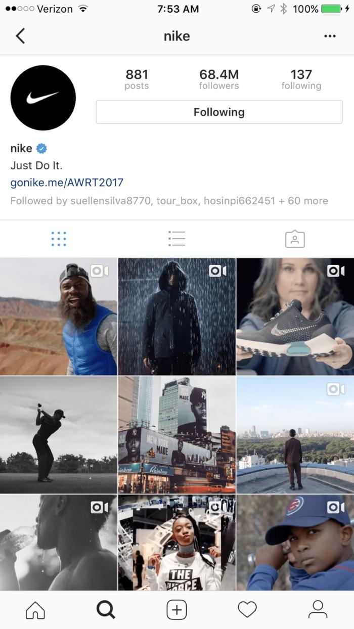 perfil da nike no instagram