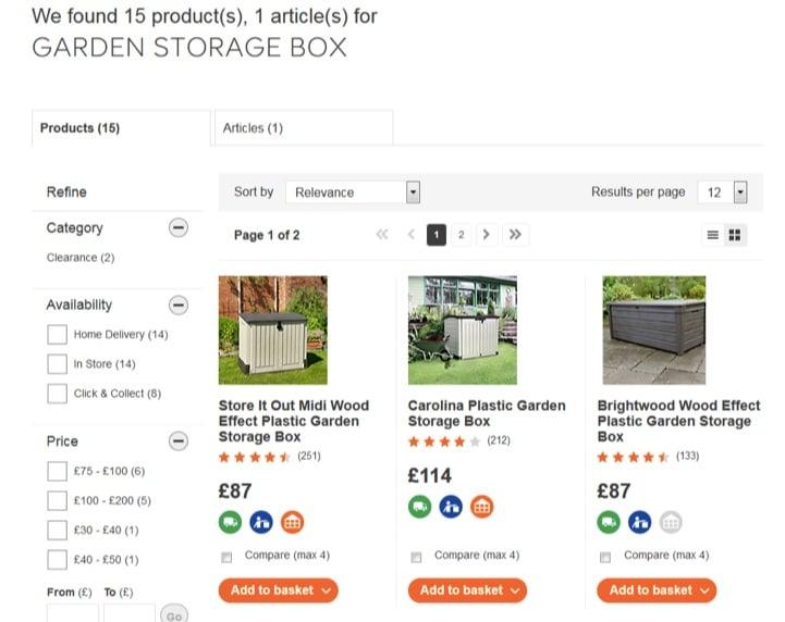 نمونه صفحه جستجوی داخلی سایت diy