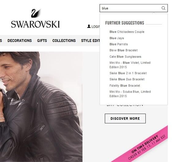 نمونه جستجوی داخلی سایت swarovski با پیشنهادات