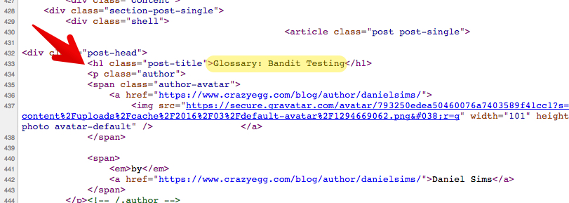 "H1 tag - ""glossary: bandit testing"" example"