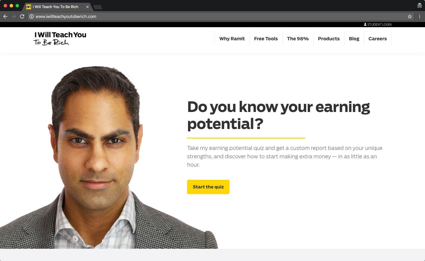 H1 tag - Ramit Sethi example