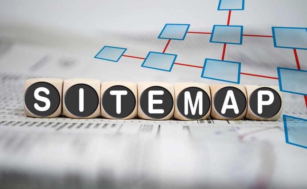 letras montando a palavra referente a sitemap