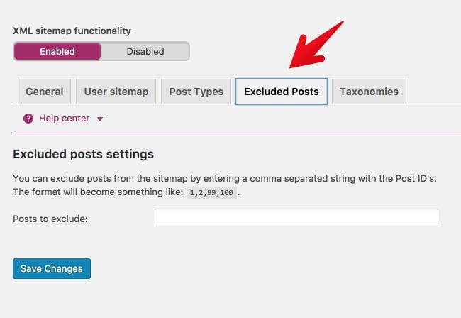 posts excluidos na ferramentqa para sitemap Yoast
