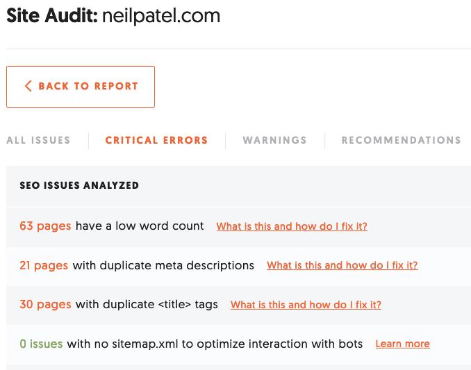 ubersuggest XML sitemap examine les erreurs critiques