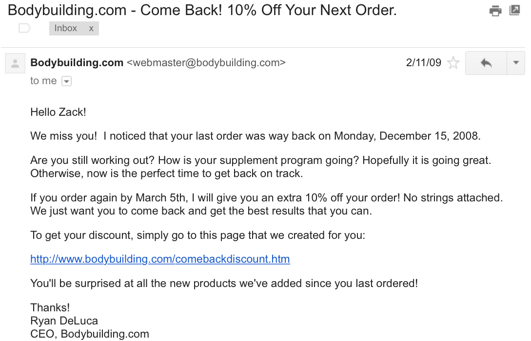 bodybuilding.com come back 10 percent off order