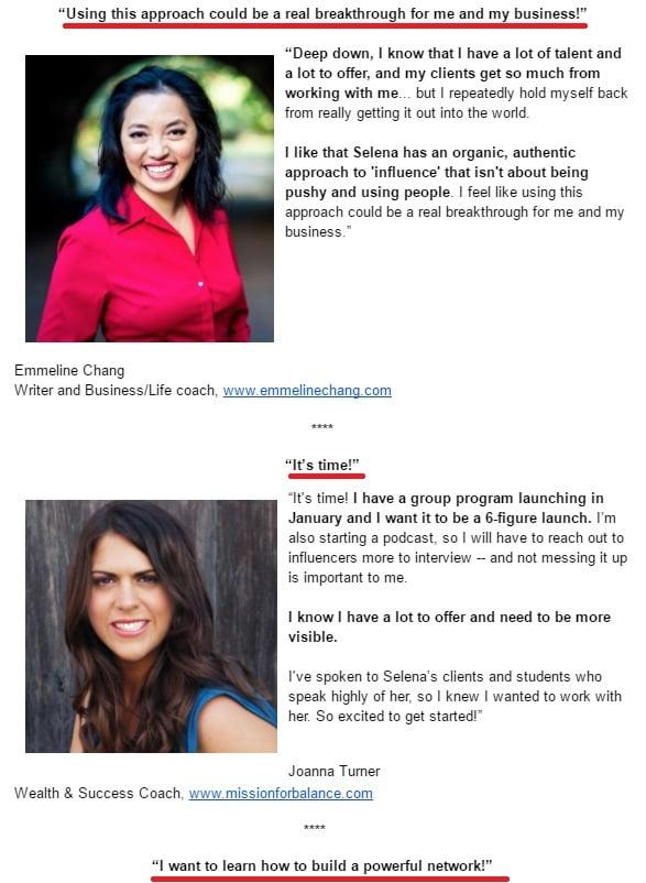 testimonial email