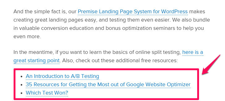 improve google rakings example of links