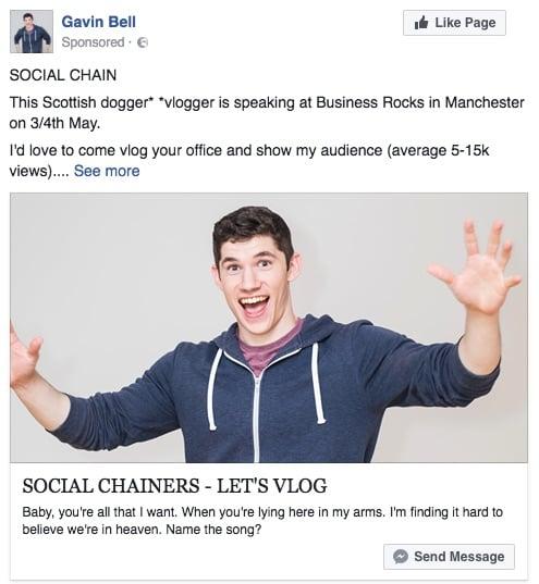 man targeting media through Facebook advertising