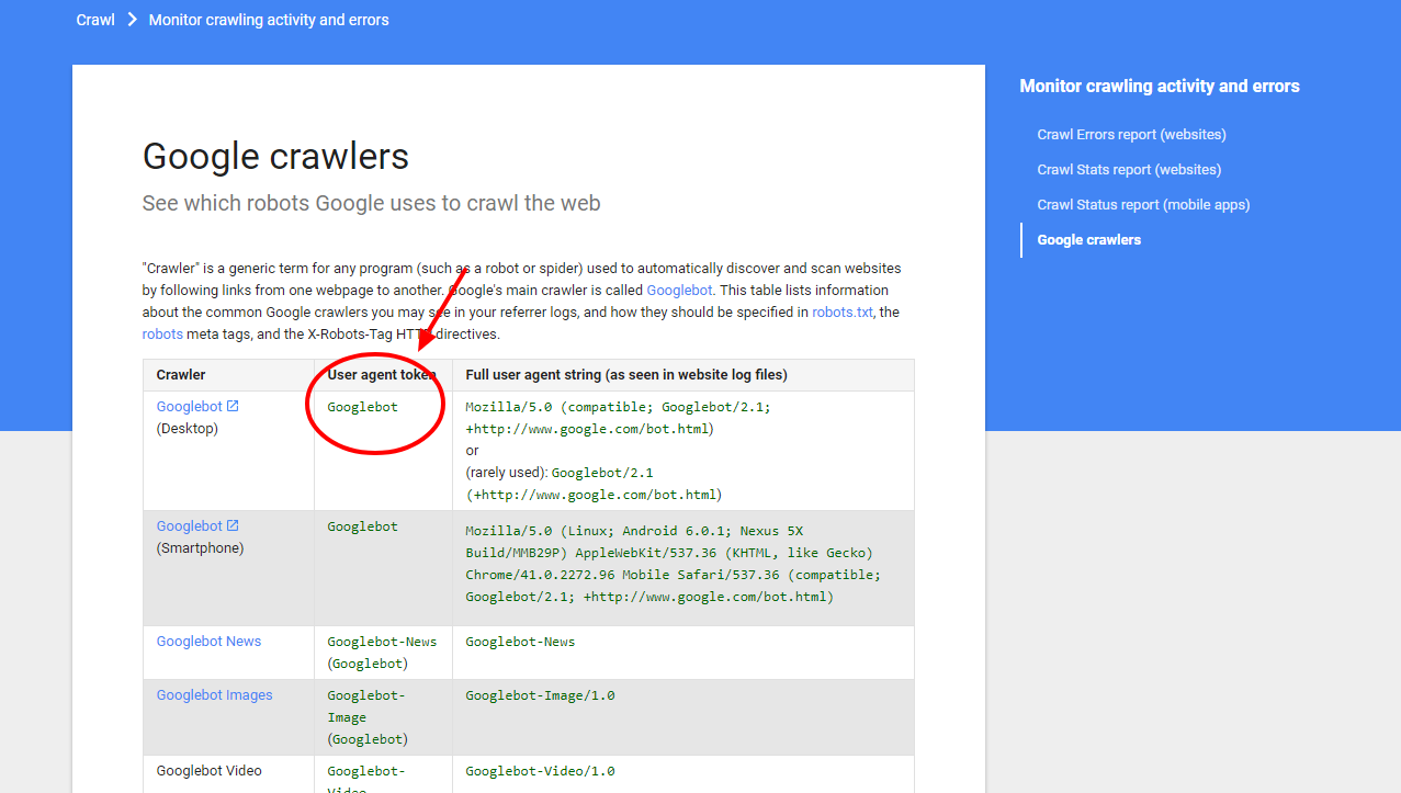 Google crawlers Search Console Help