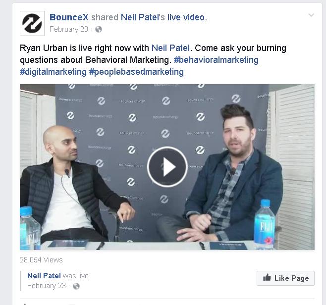 Neil Patel BounceX Facebook Live