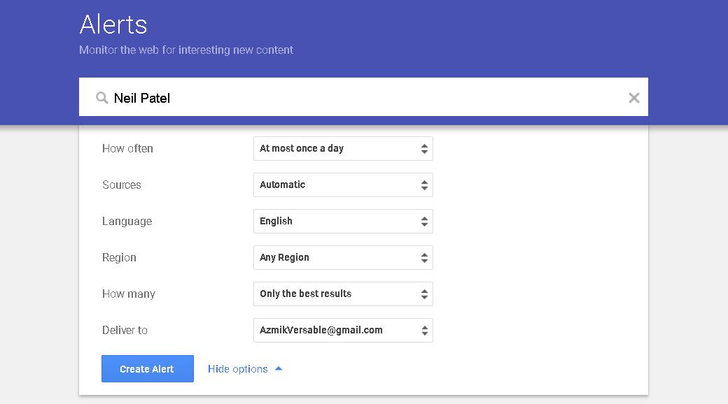 Neil Patel Google Alerts