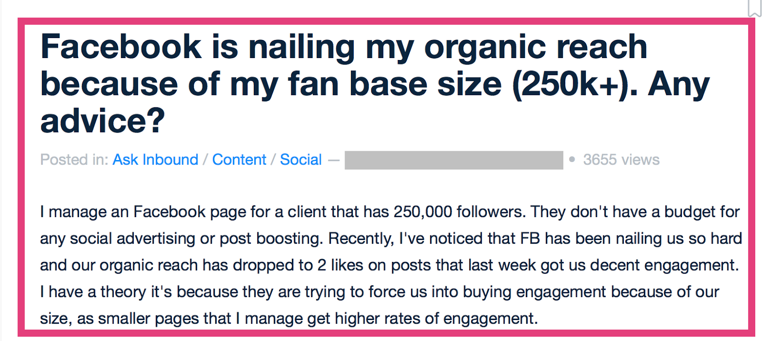 facebook organic reach lower for large audiences