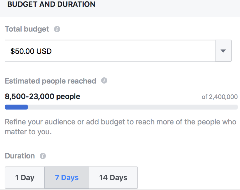 facebook organic reach set budget