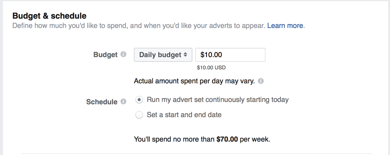 facebook organic reach set ad budget