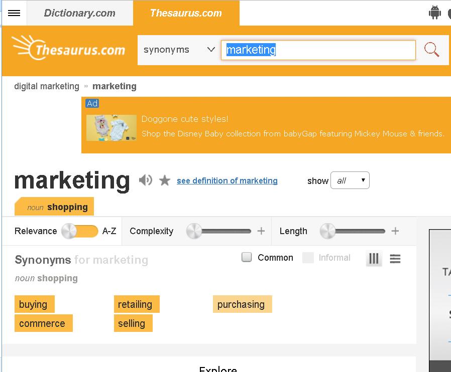 Thesaurus Keyword Research