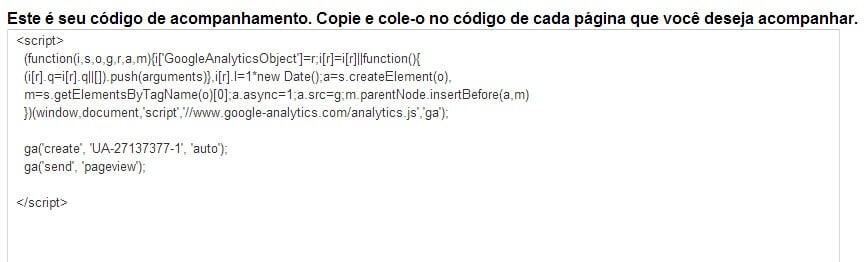 código de acompanhamento para google analytics em html