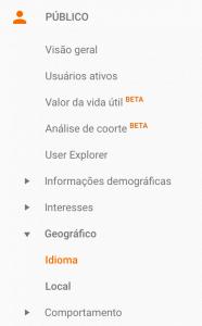 configuração de público para site pelo google analytics