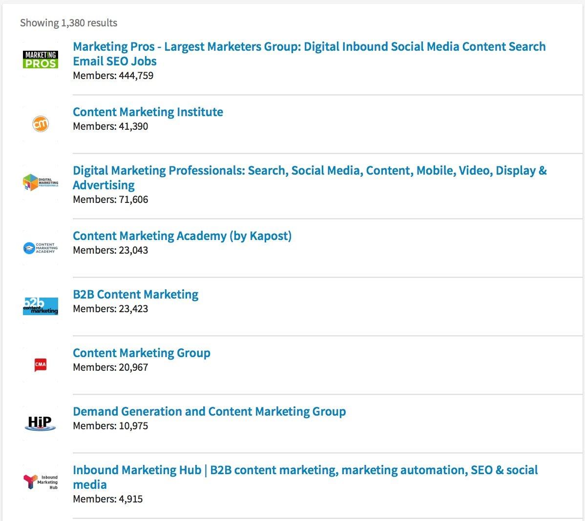 content marketing Search LinkedIn
