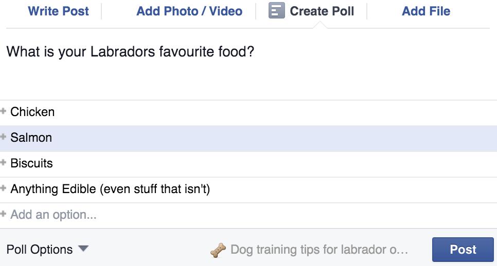 grow a facebook group poll