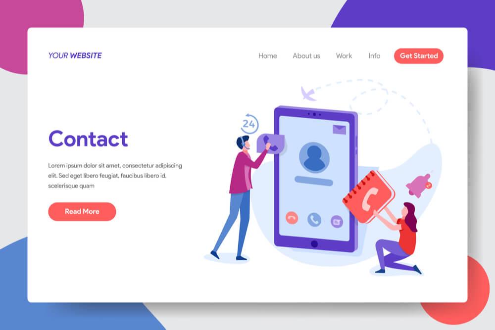 página de contato no layout de site