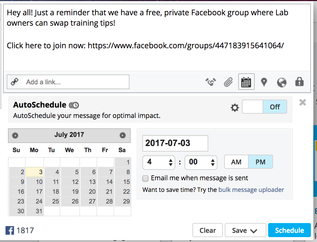 grow your facebook group by scheduling posts