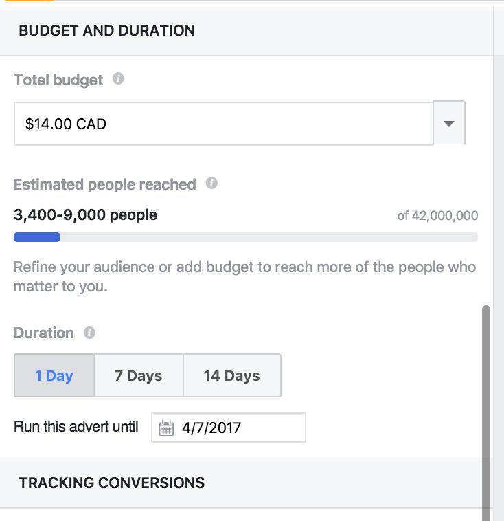 grow your facebook group set ad budget