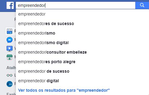 resultados da pesquisa para empreendedor no facebook