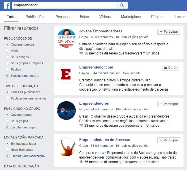resultados para a pesquisa empreendedor no facebook