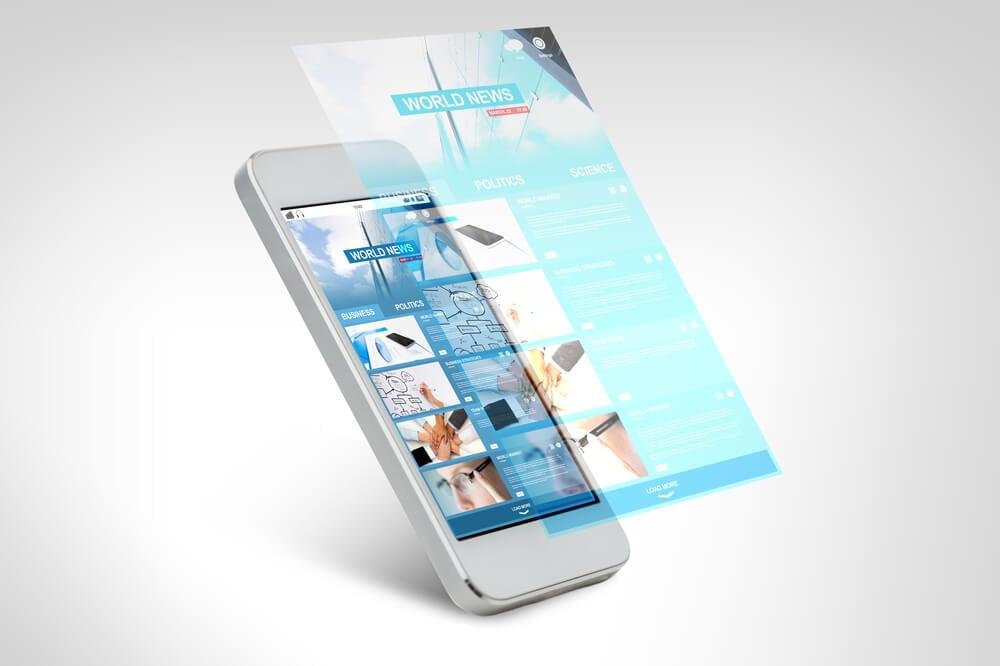 site de layout de site em dispositivos móveis