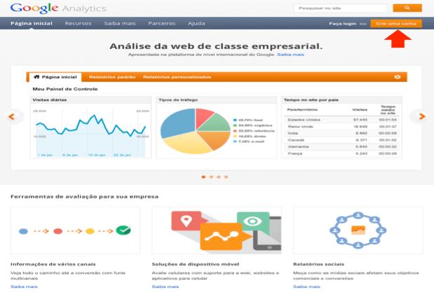 tela de tutorial de instalação do google analytics