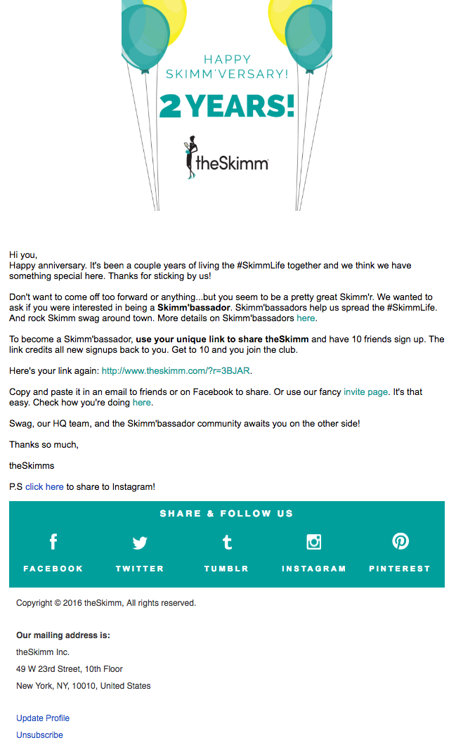 the skimm email example | How to write email for customers