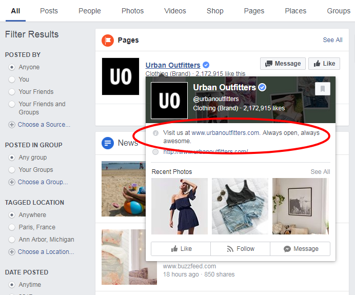 urban outfitters Facebook Search