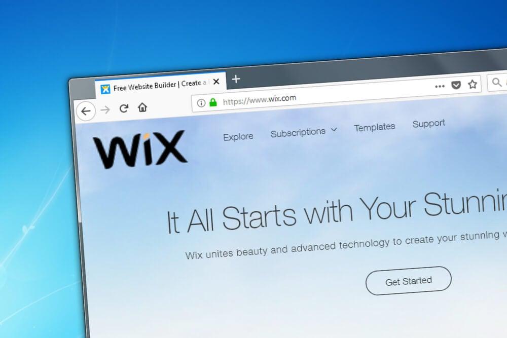 wix como exemplo de plataforma de criação e layout de site