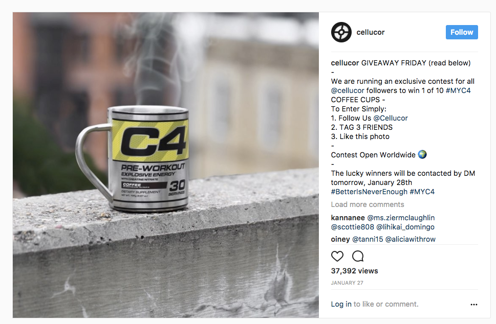 Cellucor on Instagram GIVEAWAY FRIDAY read below We are running an exclusive contest for all cellucor followers to win 1 of 10 MYC4 COFFEE CUPS To