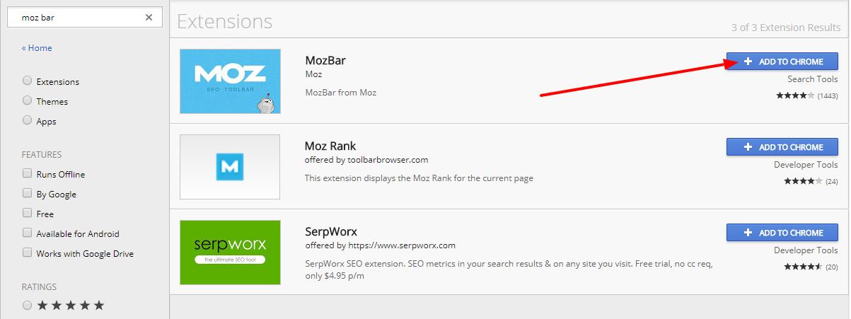 Chrome Web Store moz bar