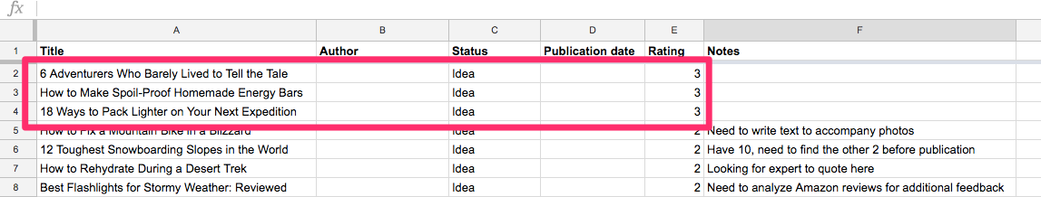 Content Backlog Google Sheets 1