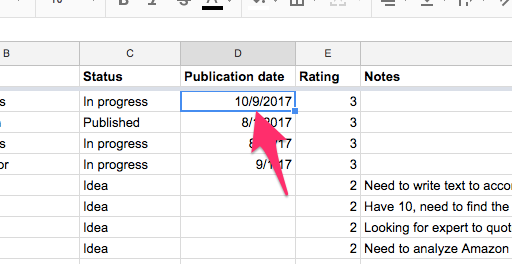 Content Backlog Google Sheets 4