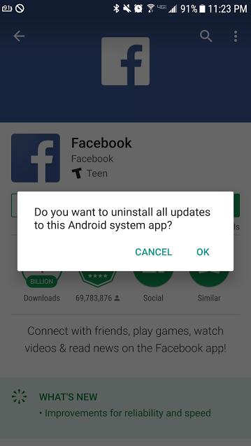 Facebook Uninstall 1
