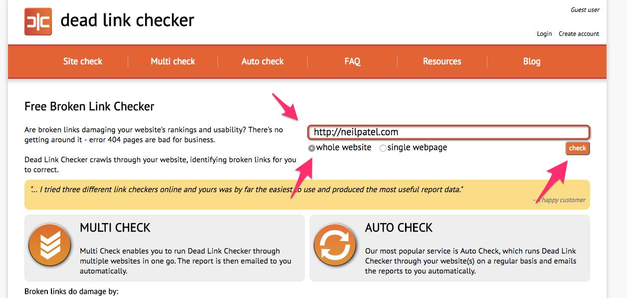Free Broken Link Checking Tool Dead Link Checker