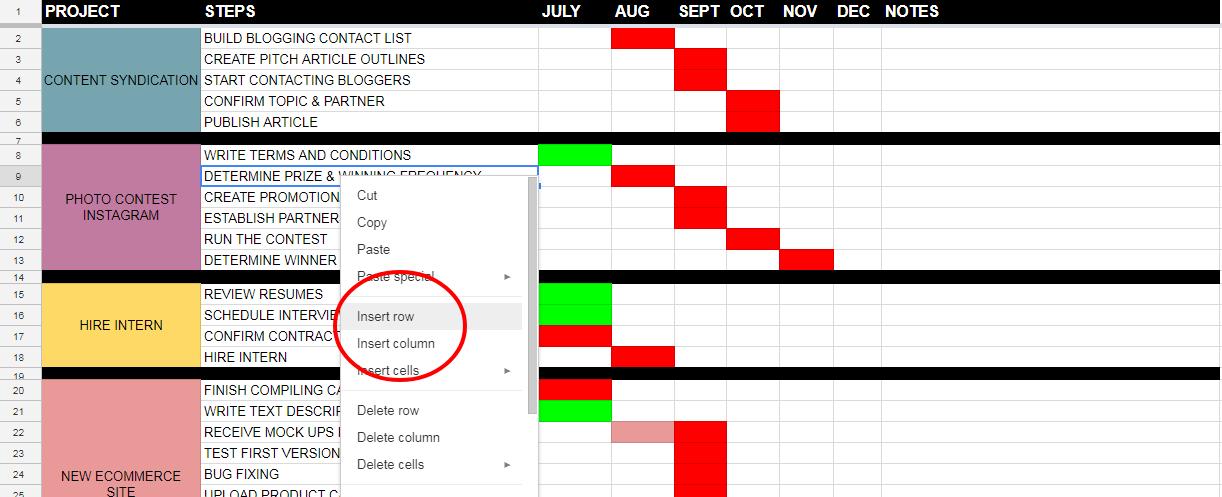 GOOGLE SHEETS PROJECT MANAGEMENT Google Sheets 3