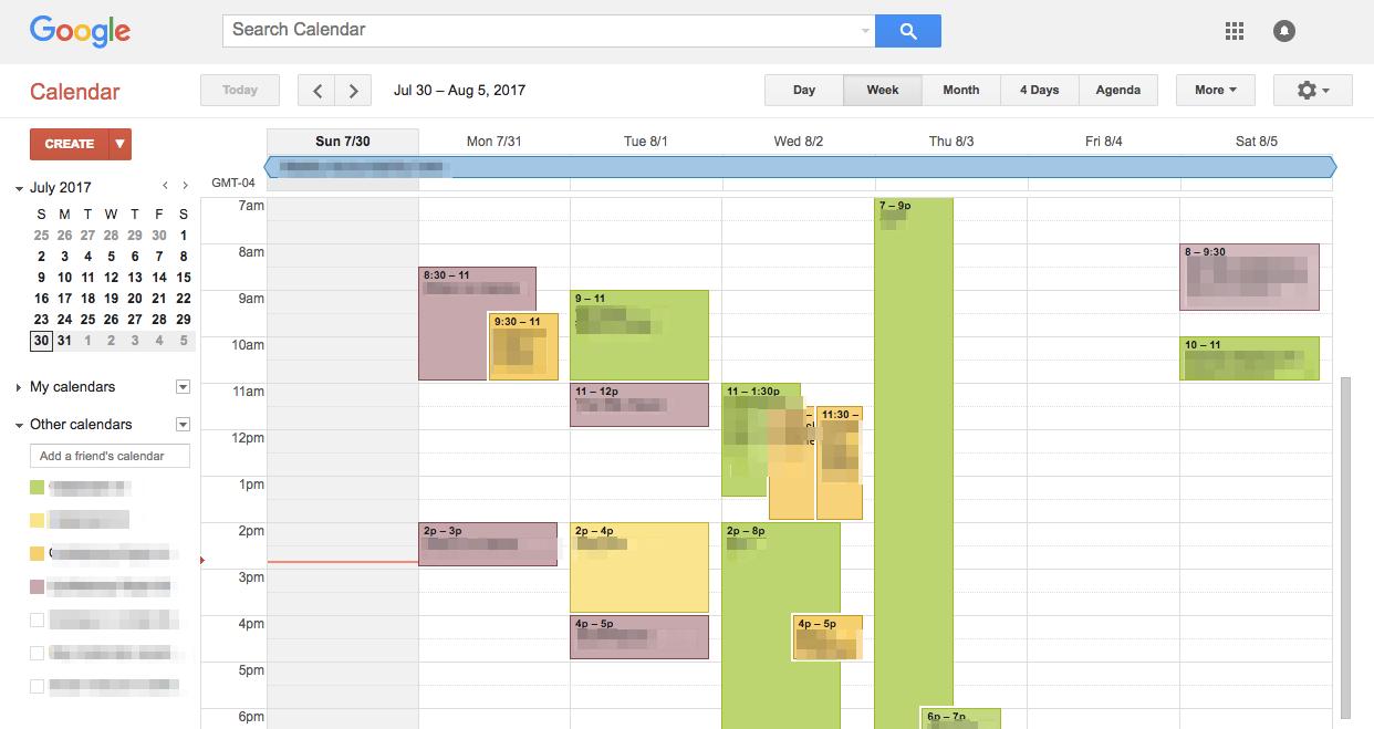 Google Calendar Week of Jul 30 2017 4