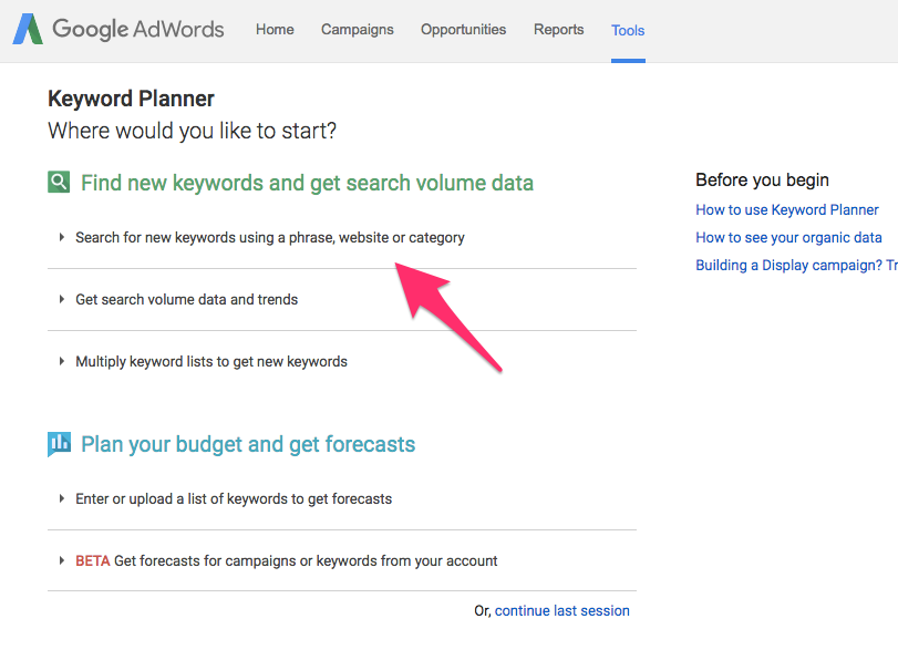 Keyword Planner Google AdWords 11