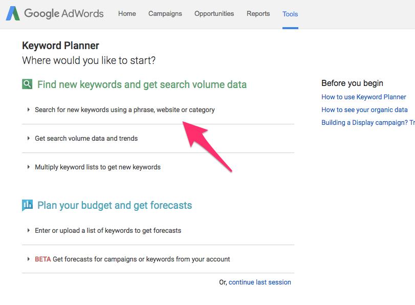 Keyword Planner Google AdWords 11