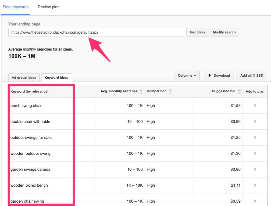 Keyword Planner Google AdWords 12