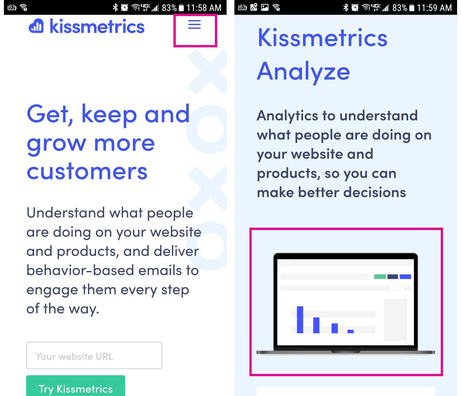 Kissmetrics Mobile Screenshot 1