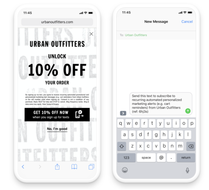attentive mobile sms marketing optin