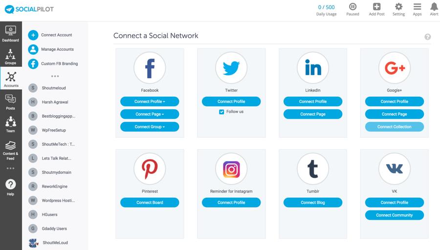 Socialpilot connect account