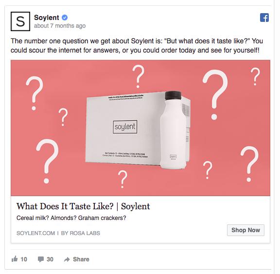 Soylent facebook ad example 1