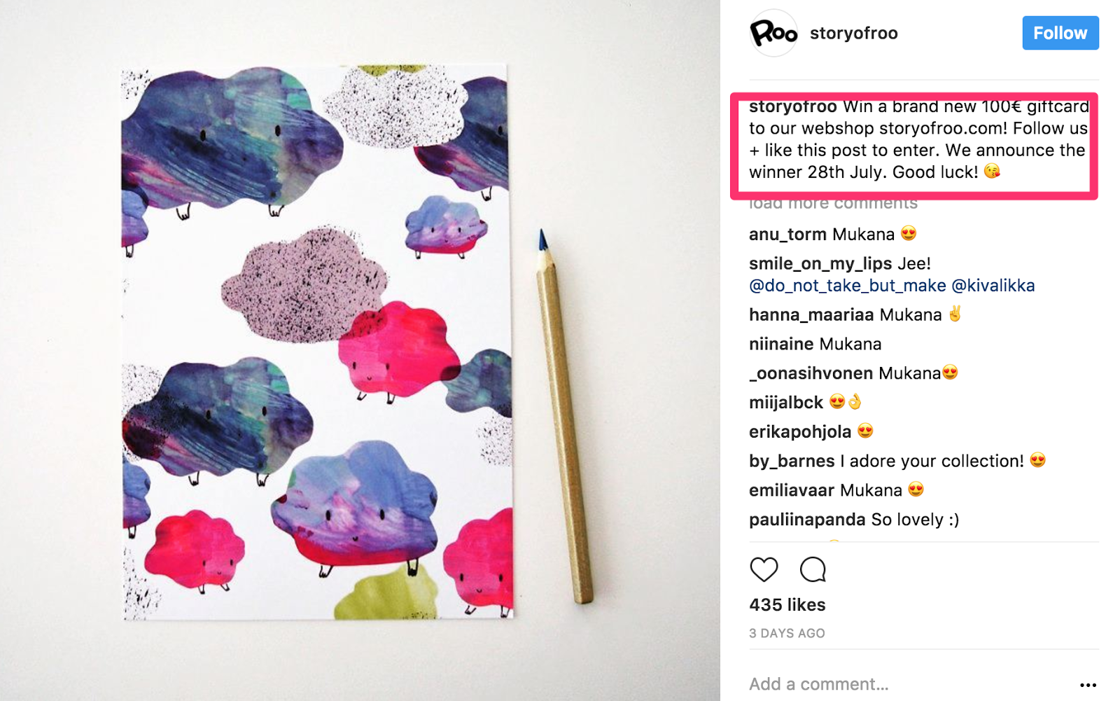 "instagram contest ideas - example of ""like to win"""