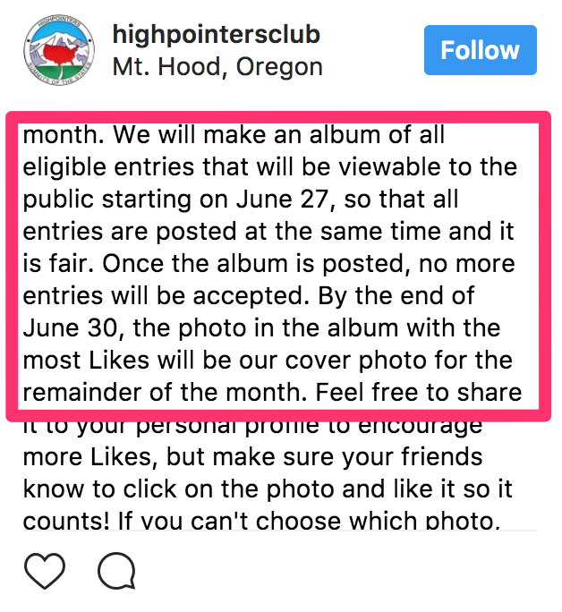 instagram contest ideas - voting contest example rules